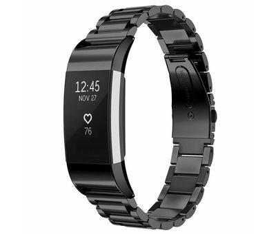 Strap-it® Strap-it® Fitbit Charge 2 stalen band (zwart)