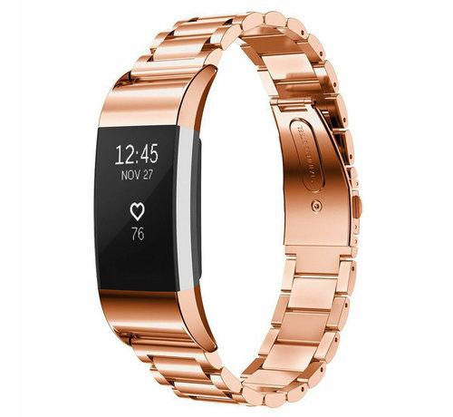Strap-it® Strap-it® Fitbit Charge 2 stalen band (rosé goud)