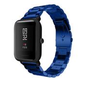 Strap-it® Xiaomi Amazfit Bip stalen band (blauw)