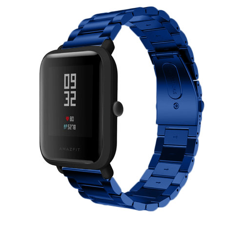 Strap-it® Strap-it® Xiaomi Amazfit Bip stalen band (blauw)