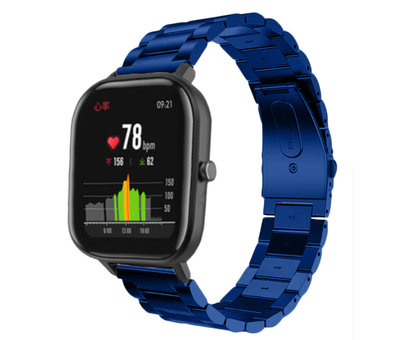 Strap-it® Strap-it® Xiaomi Amazfit GTS stalen band (blauw)