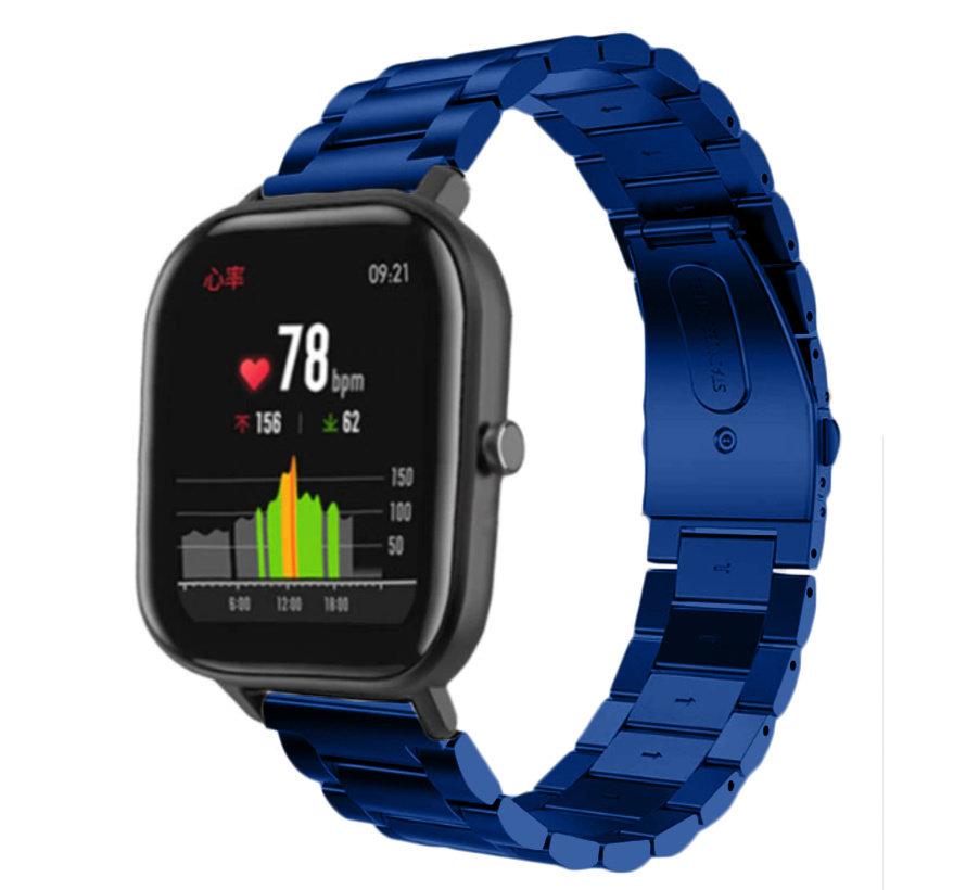 Strap-it® Xiaomi Amazfit GTS stalen band (blauw)