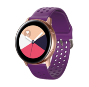 Strap-it® Samsung Galaxy Watch Active siliconen bandje met gaatjes (paars)