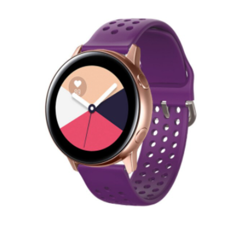 Strap-it® Strap-it® Samsung Galaxy Watch Active siliconen bandje met gaatjes (paars)