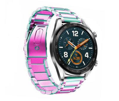 Strap-it® Strap-it® Huawei Watch GT stalen band (regenboog)