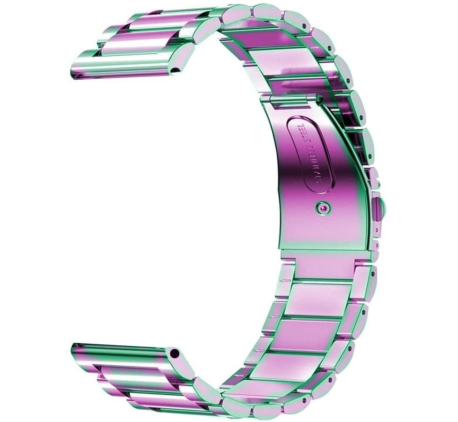 Strap-it® Garmin Vivoactive 4 stalen band - 45mm - regenboog