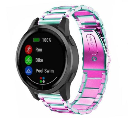 Strap-it® Strap-it® Garmin Vivoactive 4 stalen band - 45mm - regenboog