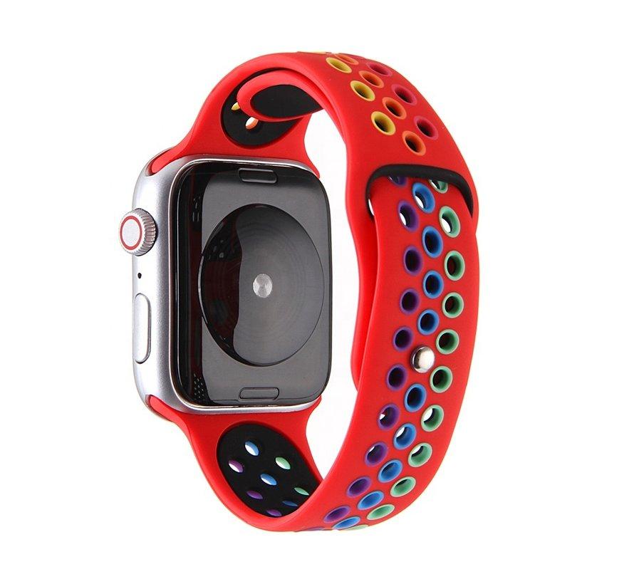 Strap-it® Apple Watch SE sport band (rood/kleurrijk)