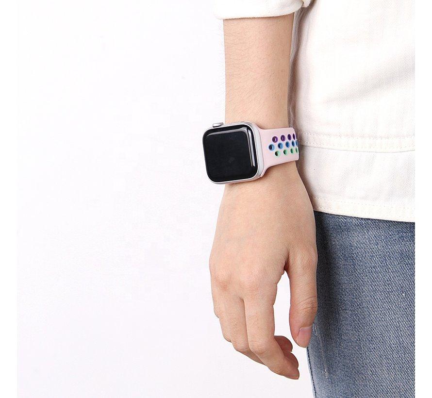 Strap-it® Apple Watch SE sport band (roze/kleurrijk)