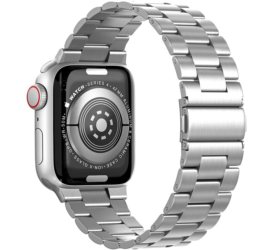 Strap-it® Apple Watch SE stalen band (zilver)