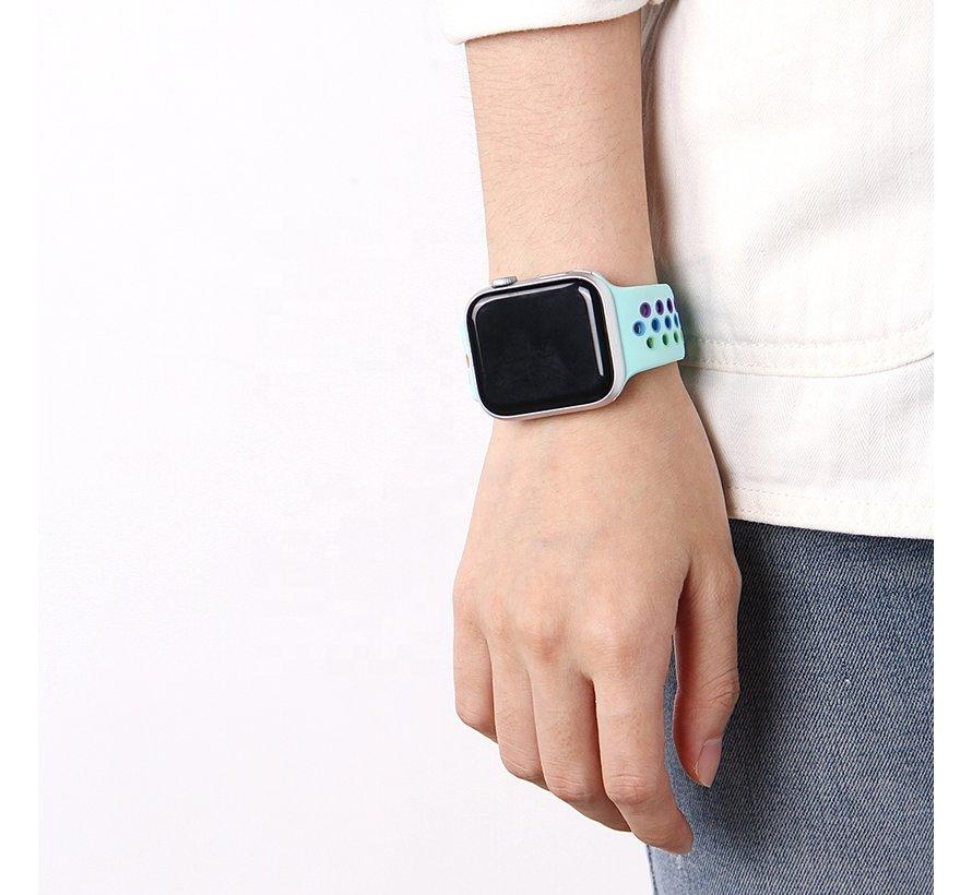 Strap-it® Apple Watch SE sport band (lichtblauw/kleurrijk)