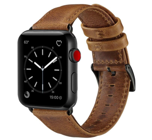 Strap-it® Strap-it® Apple Watch SE leren bandje (bruin)