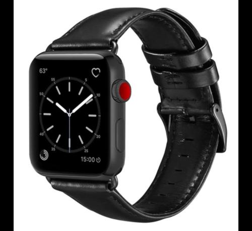 Strap-it® Strap-it® Apple Watch SE leren bandje (zwart)