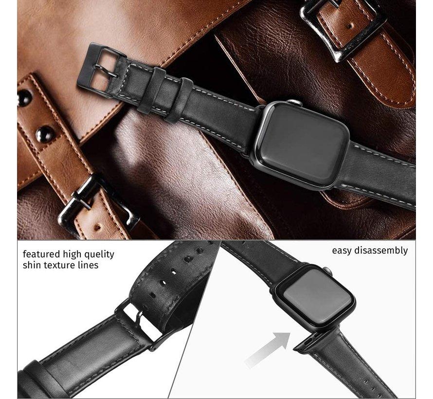 Strap-it® Apple Watch SE leren bandje (zwart)