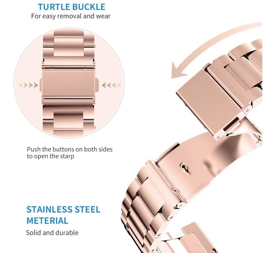 Strap-it® Apple Watch stalen band (rosé goud)