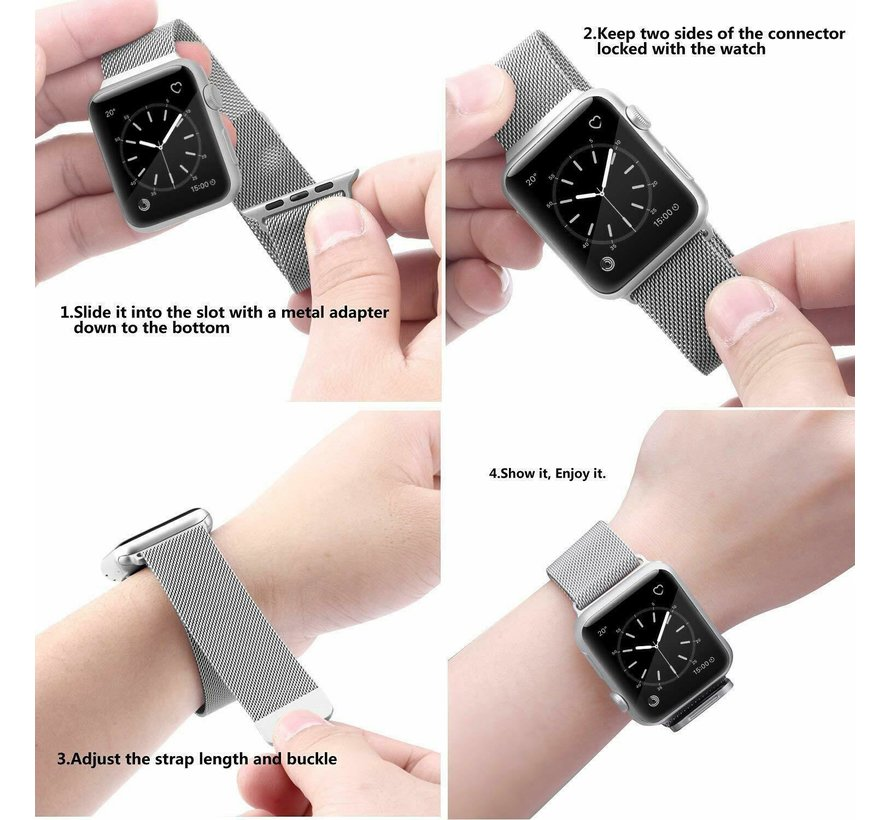 Strap-it® Apple Watch SE Milanese band (zilver)