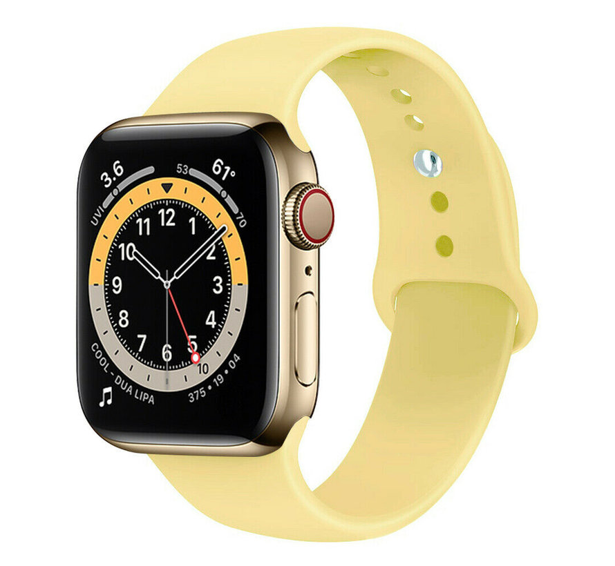 Strap-it® Apple Watch 6 silicone band (geel)