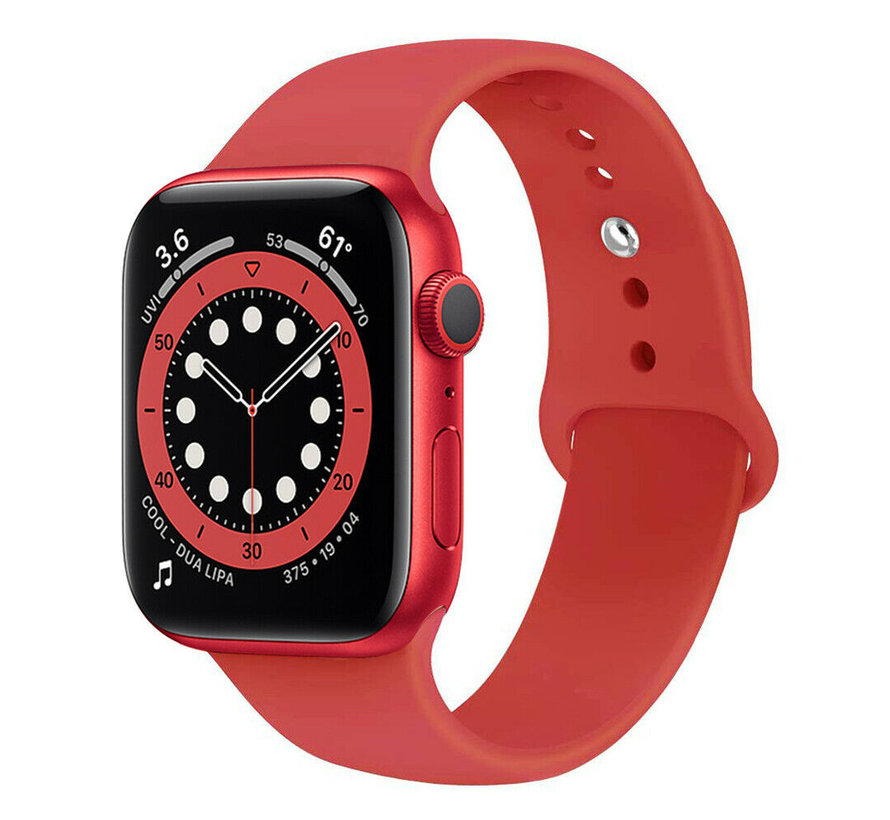 Strap-it® Apple Watch 6 silicone band (rood)