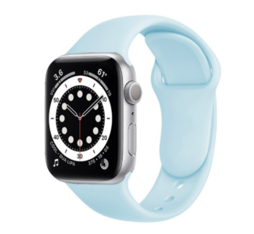 Strap-it® Strap-it® Apple Watch 6 silicone band (lichtblauw)