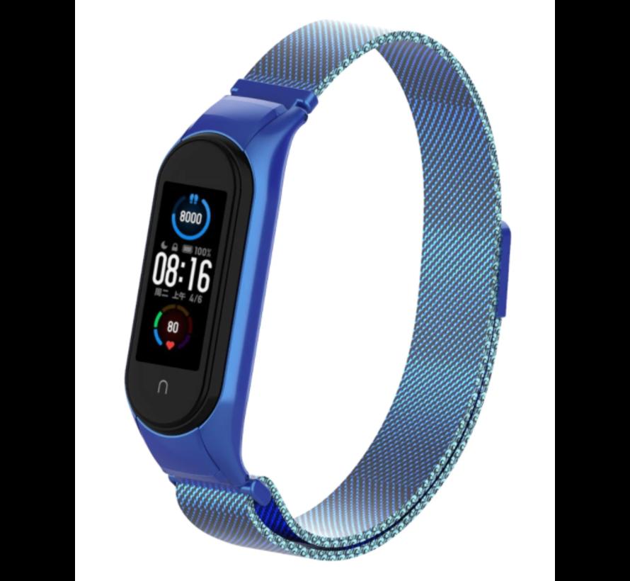 Strap-it® Xiaomi Mi band 5 Milanese band (blauw)
