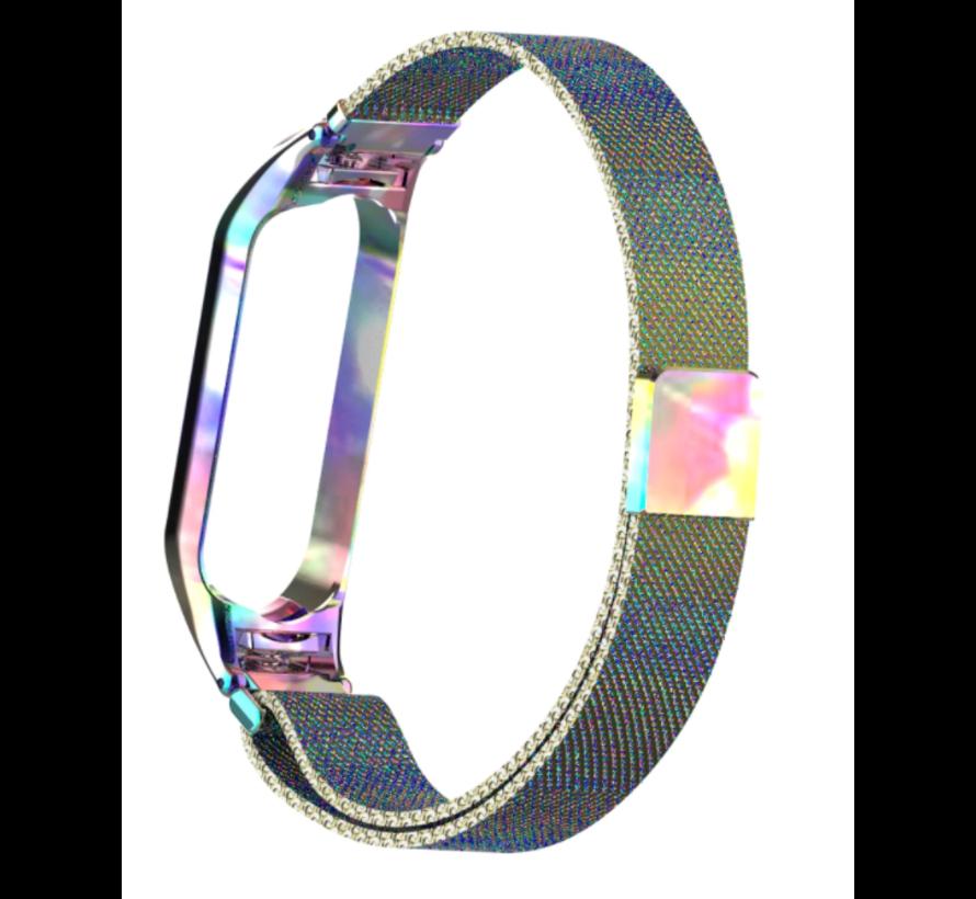 Strap-it® Xiaomi Mi band 5 Milanese band (regenboog)