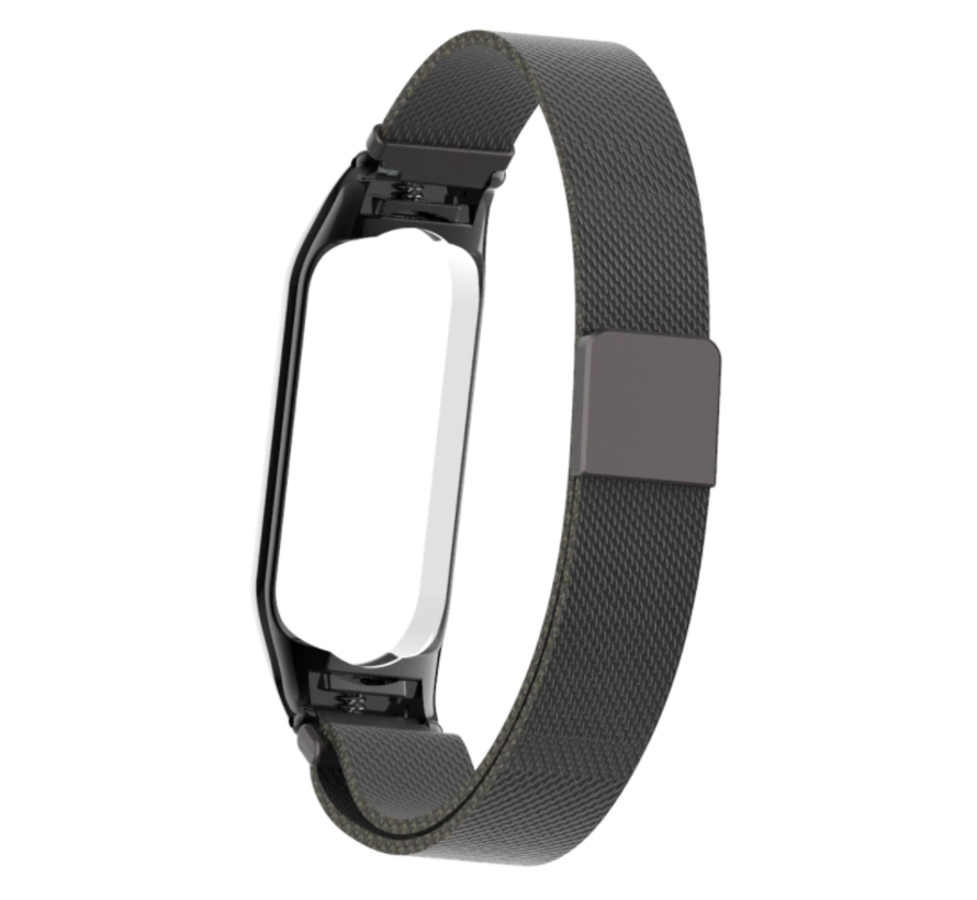 Strap-it® Xiaomi Mi band 5 Milanese band (zwart)