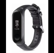 Strap-it® Xiaomi Mi band 5 leren bandje (zwart)