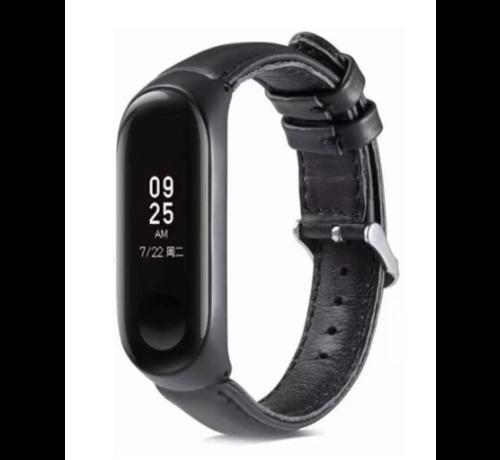 Strap-it® Strap-it® Xiaomi Mi band 5 leren bandje (zwart)