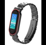 Strap-it® Xiaomi Mi band 5 stalen bandje (zwart)