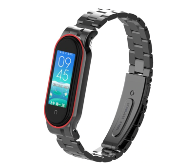 Strap-it® Strap-it® Xiaomi Mi band 5 stalen bandje (zwart)