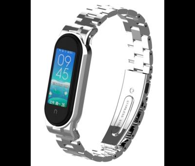 Strap-it® Strap-it® Xiaomi Mi band 5 stalen bandje (zilver)
