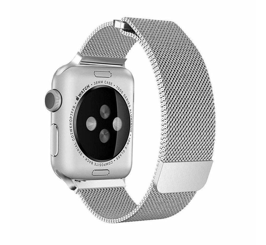 Strap-it® Apple Watch 6 Milanese band (zilver)