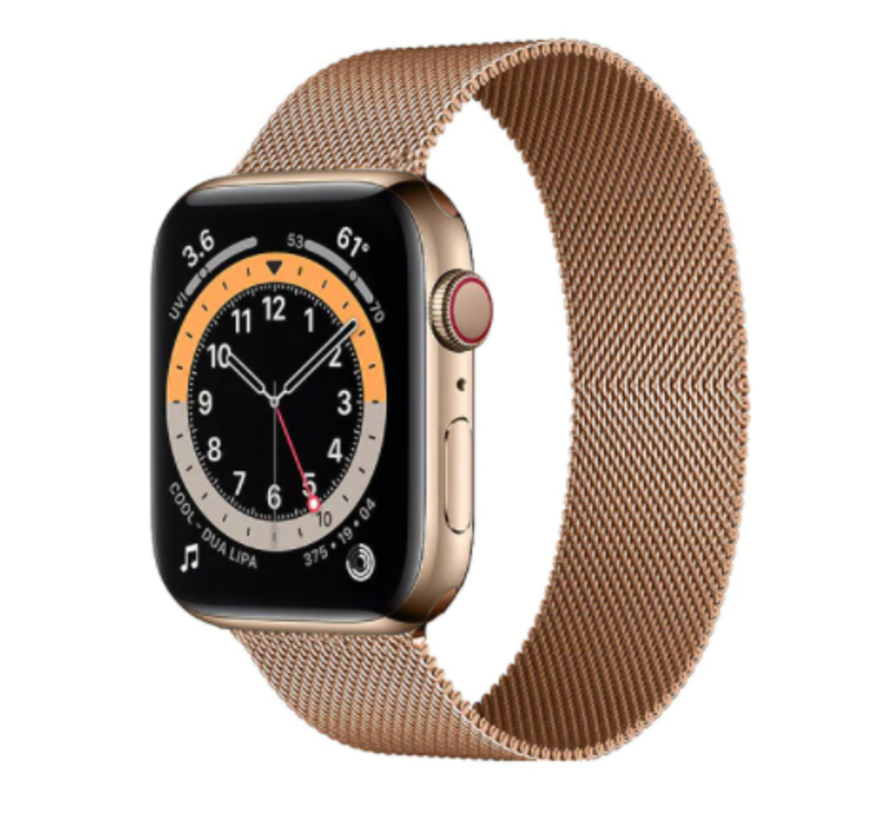 Strap-it® Apple Watch 6 Milanese band (rosé goud)