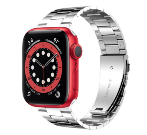 Strap-it® Strap-it® Apple Watch 6 stalen band (zilver)
