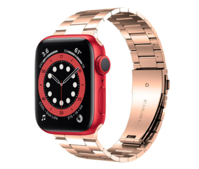 Strap-it® Strap-it® Apple Watch 6 stalen band (rosé goud)