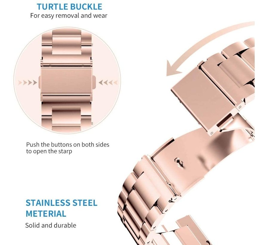 Strap-it® Apple Watch 6 stalen band (rosé goud)