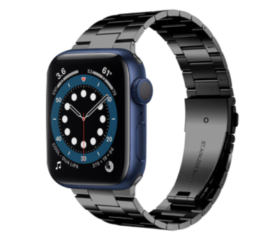 Strap-it® Strap-it® Apple Watch 6 stalen band (zwart)