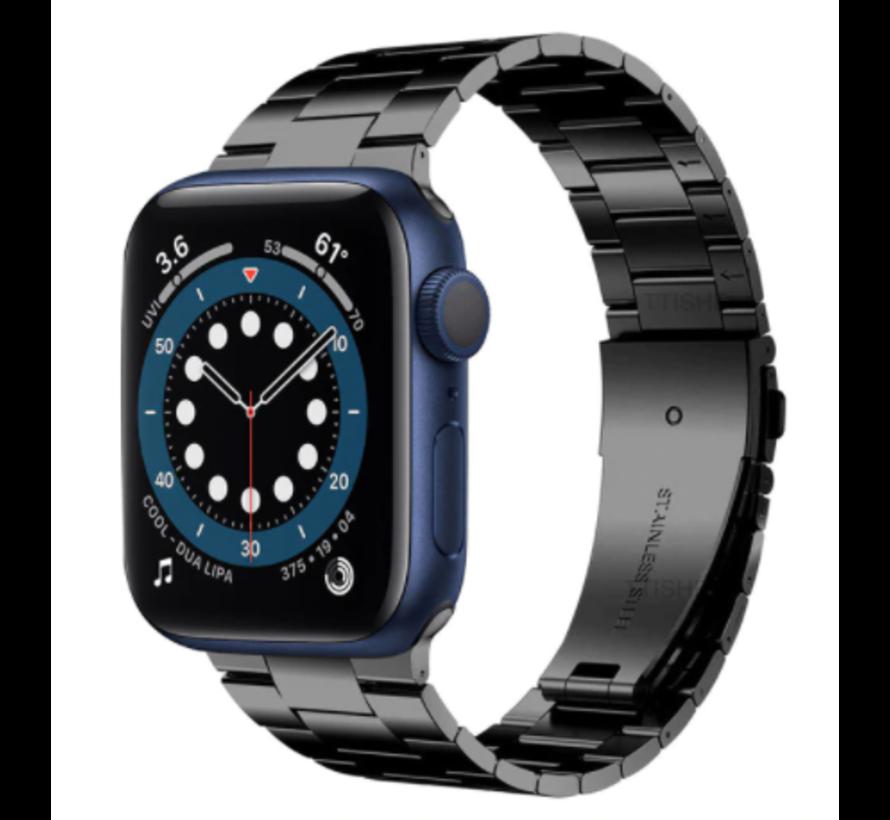 Strap-it® Apple Watch 6 stalen band (zwart)