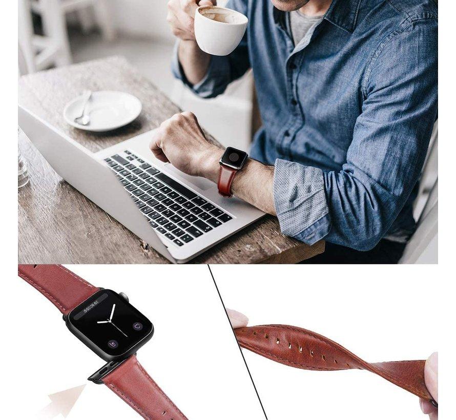 Strap-it® Apple Watch 6 leren bandje (roodbruin)
