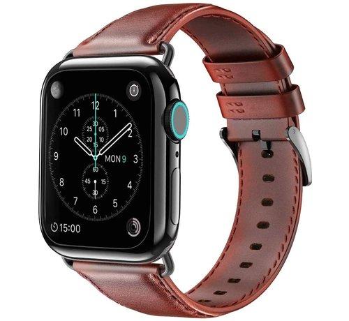 Strap-it® Strap-it® Apple Watch 6 leren bandje (roodbruin)