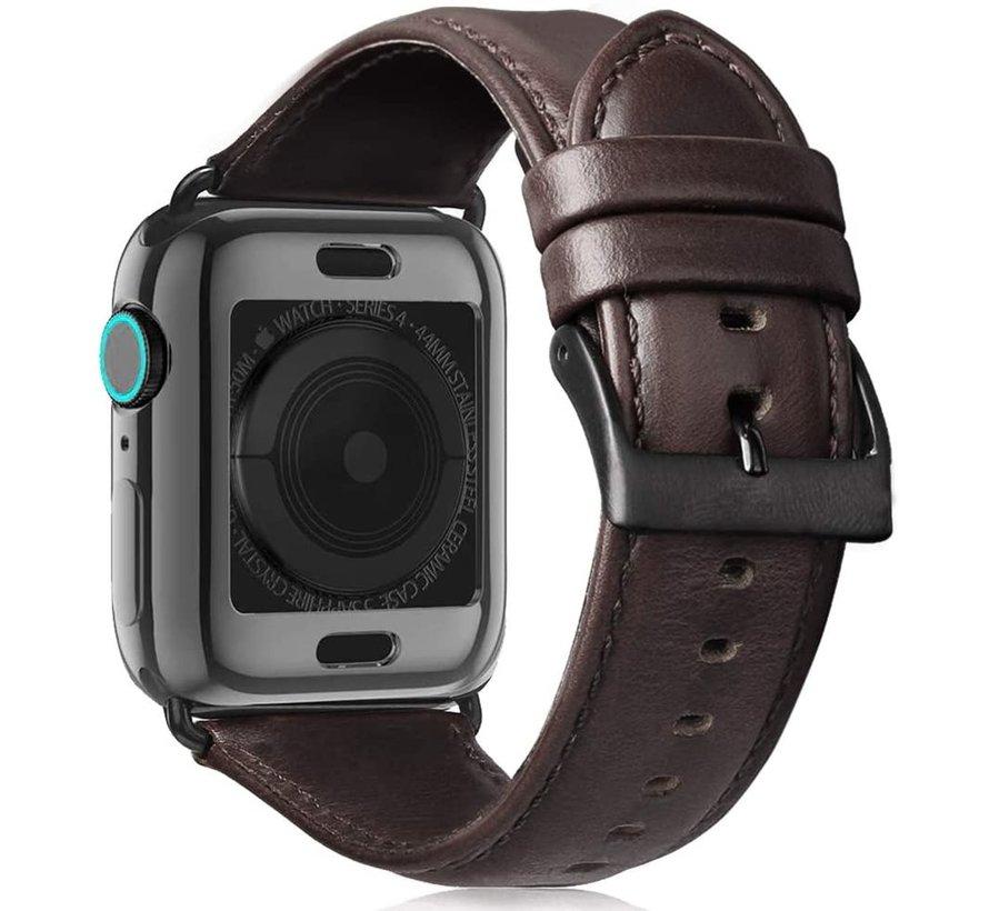 Strap-it® Apple Watch 6 leren bandje (donkerbruin)