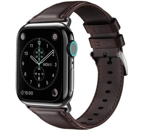 Strap-it® Strap-it® Apple Watch 6 leren bandje (donkerbruin)