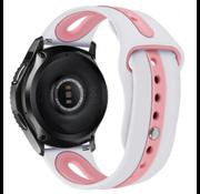 Strap-it® Garmin Vivoactive 4 duo sport band - 45mm - wit/roze