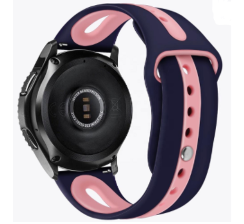 Strap-it® Strap-it® Garmin Vivoactive 4 duo sport band - 45mm - donkerblauw/roze