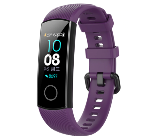 Strap-it® Strap-it® Honor band 4 / 5 siliconen bandje (paars)