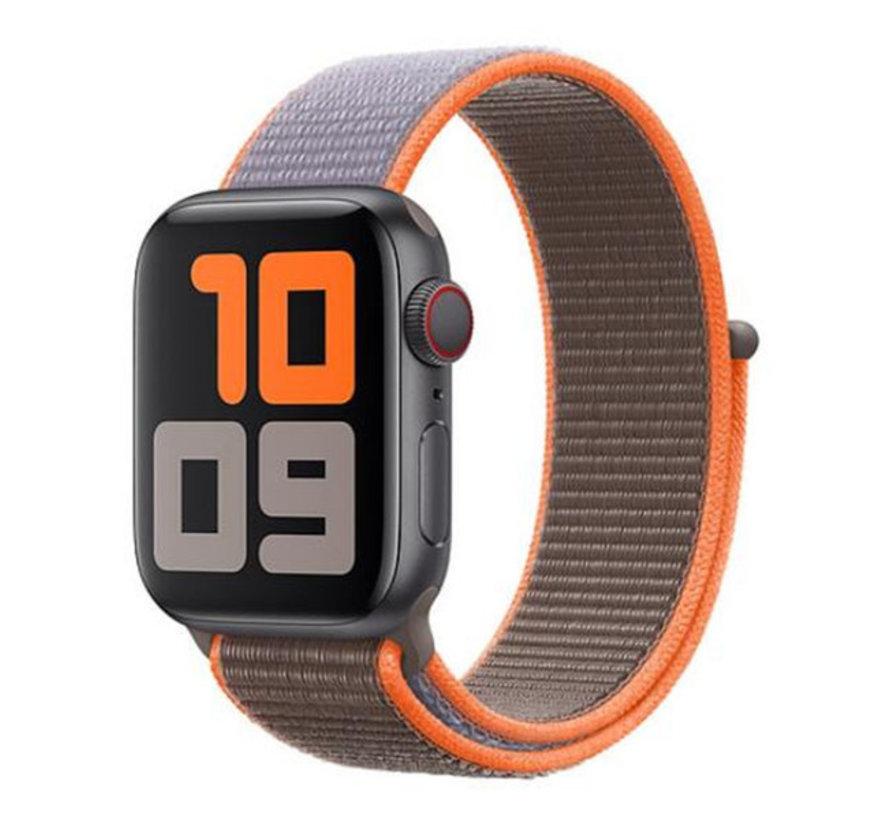 Strap-it® Apple Watch nylon  band (bruin-oranje)