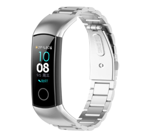 Strap-it® Strap-it® Honor band 4 / 5 stalen band (zilver)