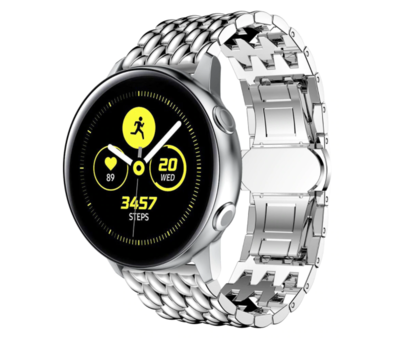 Strap-it® Strap-it® Samsung Galaxy Watch 41mm/42mm stalen draak band (zilver)