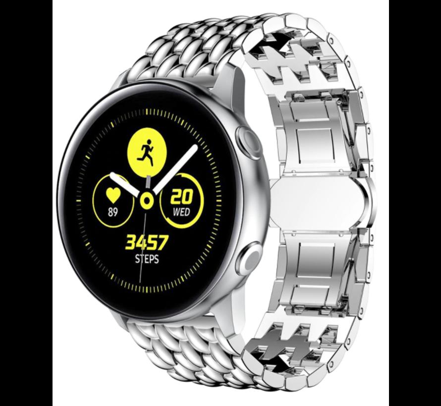 Strap-it® Samsung Galaxy Watch 41mm/42mm stalen draak band (zilver)