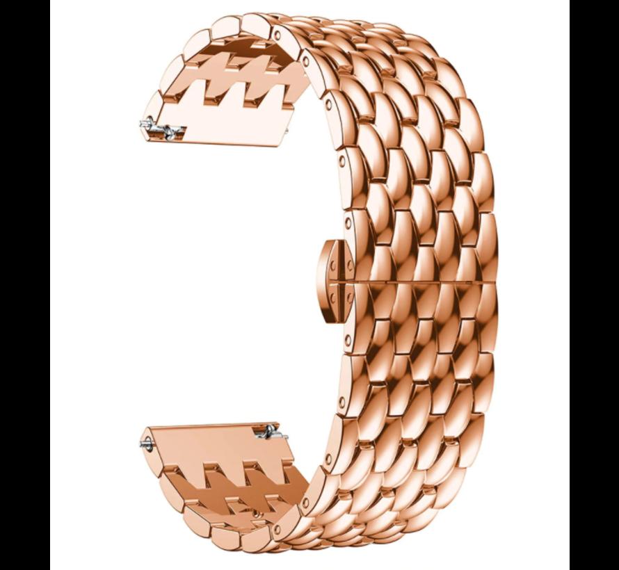 Strap-it® Garmin Vivoactive 4 stalen draak band - 45mm - rosé goud
